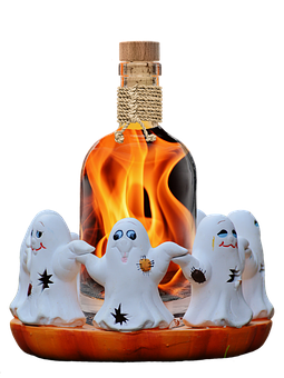 Halloween, Ghosts, Ghost, Bottle, Fire Water, Flame