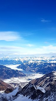 Mountains, Glacier, Valley, Horizon, Valley View