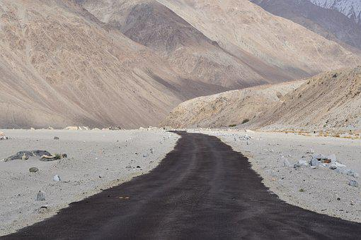 Road, Desert, Mountains, Leh, Ladakh, Kashmir, Hundar