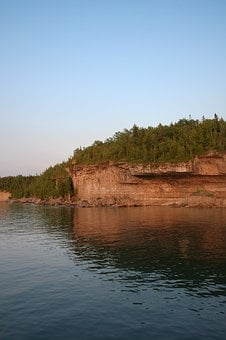 Coast, Cliff, Rocks, Shore, Lake, Sunset, Georgian Bay