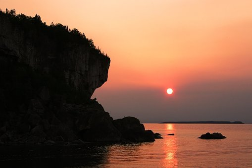 Coast, Cliff, Rocks, Shore, Lake, Sunset, Sun