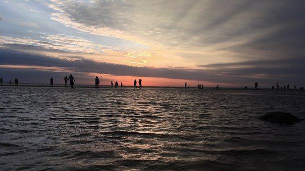 Sea, Asaka, Sky, Silhouette, Water, Orange, Pink, Cloud
