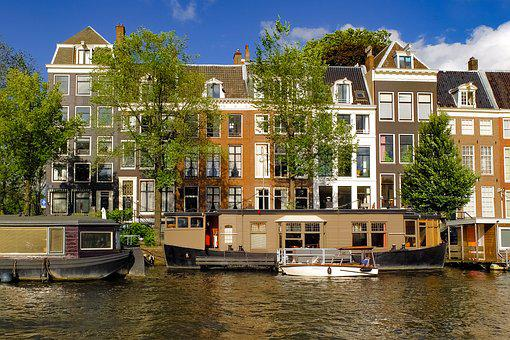 Cityscape, Amsterdam, House, Building, Barge, Houseboat