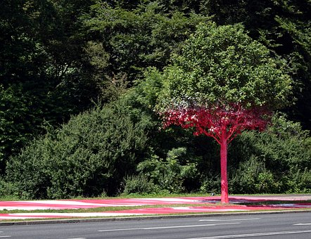 Tree, Red, Colored, Art, Culture, City Of Culture