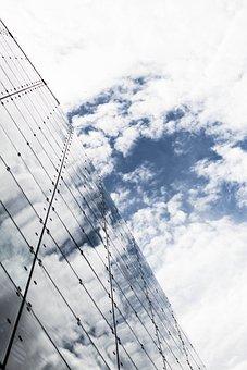 Sky, Clouds, Building, Delta, Black, Bush, Bw, Coast