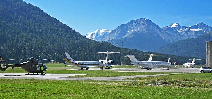 Airport, St Moritz, Samedan, Engadin, Graubünden