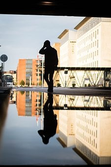 Water, Reflection, Buildings, House, Guy, Nature, Blue