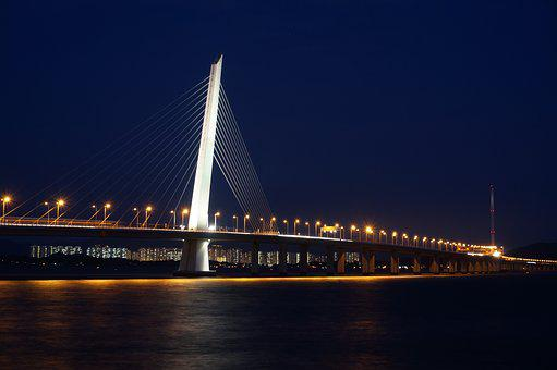 Shenzhen Bay Bridge, Shenzhen, Bridge, Night View
