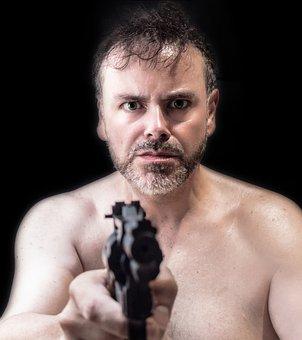 Man, Mature, Portrait, Mafia, Violence, Weapon, Gun
