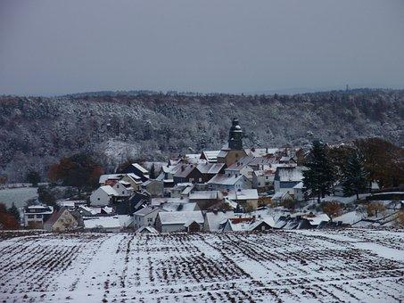 Sebbeterode, Germany, Winterbeeld, Snow