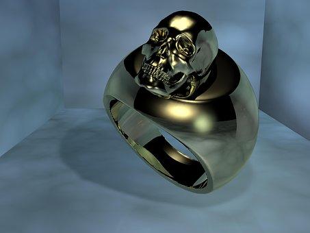 Ring, Gold, Skull And Crossbones, Skull, Metal
