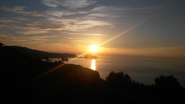 Sun, Sunset, Getaria, Basque Country, Sea, Horizon