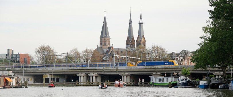 Amsterdam, Netherlands, Boat, Train, Church, Belfry