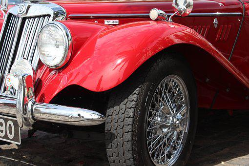 Car, Red, Vintage, Wheels, Spokes, Tyres, Shiny