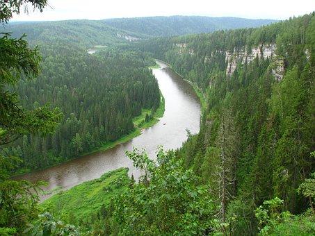 Osvenskii Posts, R, Usva, Perm Krai, River, Sky, Nature