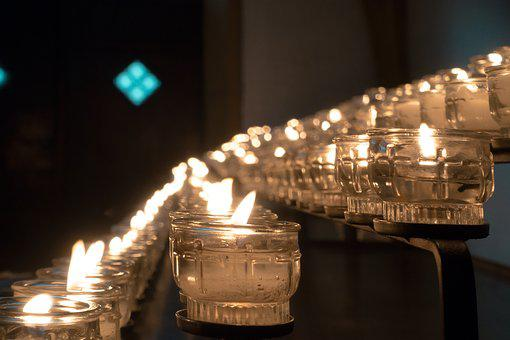Candle, Victims, Lights, Prayer, Church, Candlelight