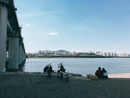 Seoul, Han River, Bike, Walk, Bridge, Scenery, Outing