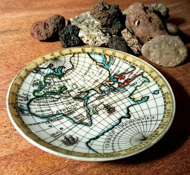 Bavaria, Plate, Brown, Rocks, Warm, World, Worldmap