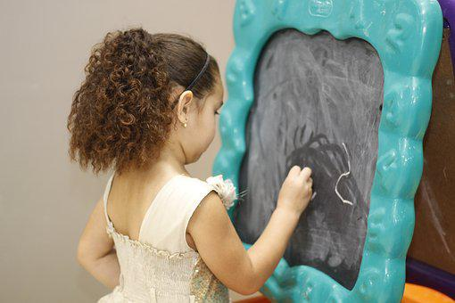 Blackboard, Chalk, Child, Girl, Education