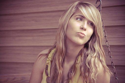 Model, Woman, Girl, Grin, Pucker, Lips, Yellow, Blonde