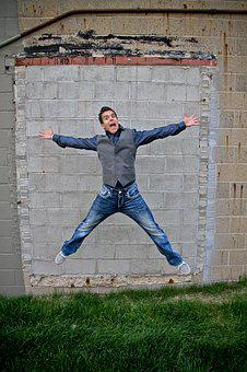 Man, Model, Handsome, Happiness, Smile, Jump, Elation