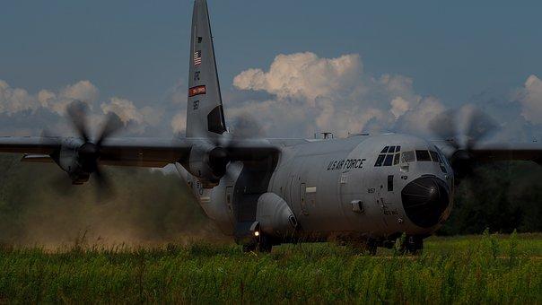 C-130, Hercules, Cargo, Freighter, Air Force, Landing