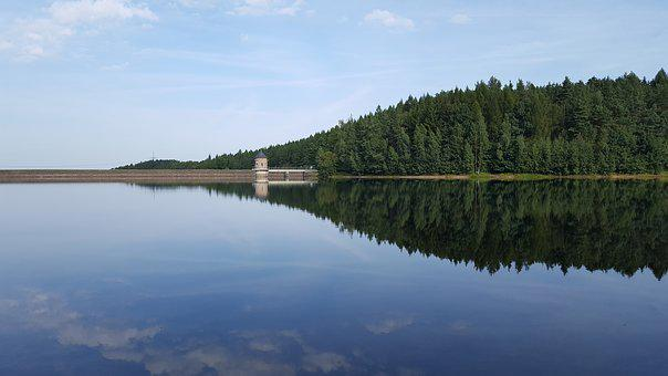 Dam, Water, Blue, Mirror Image, City Of Stollberg