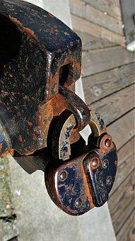 Padlock, Old, Rusted, Lock, Roundhouse