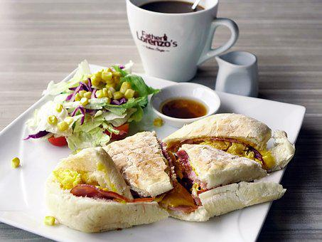 Breakfast, Sandwich, Salad, Healthy, Morning, Coffee