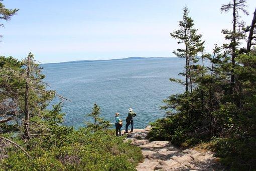 Tourists, Trail, Hiking, Scenery, Landscape, Adventure