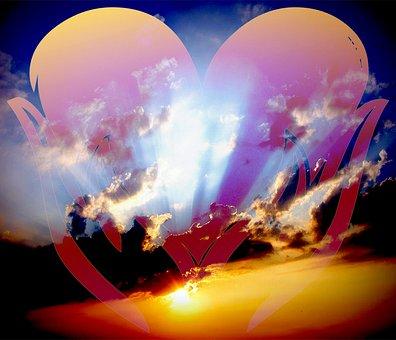 Heart, Clouds, Love, Symbol, Sky, Shape, Blue, Romantic