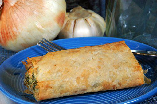 Spanakopita, Onion, Blue, Golden, Baked, Filo, Dough
