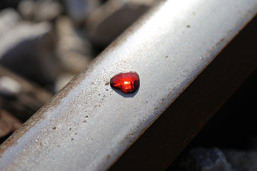 Glowing Red Heart On Railway, Stop Children Suicide