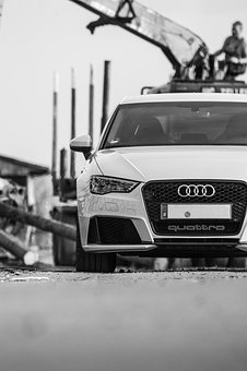 Car, Audi, Black And White, Front, Wood Work, Contrast