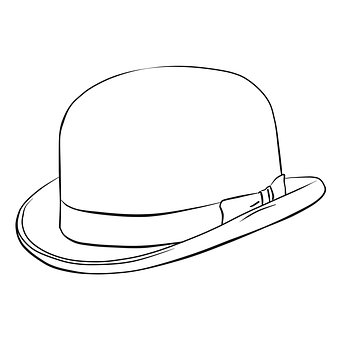 Hat, Coloring, Line, Monochrome, Bw, Drawing, Figure