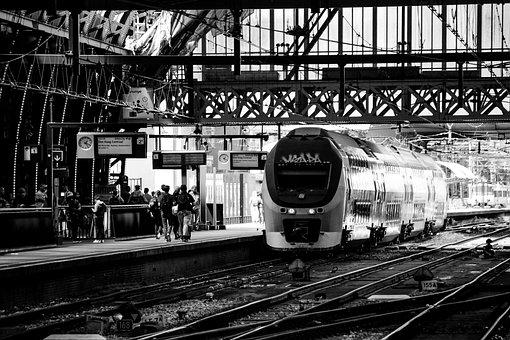 Train, Station, Central, Amsterdam, Holland