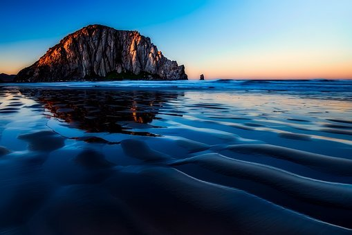 Morro Bay, California, Sunset, Dusk, Rock, Formation
