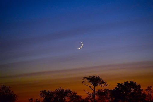 Moon, Sky, Crescent, Sunset, Colorful, Night, Light