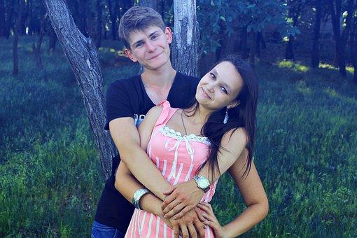 Hug, Girl, Guy, Smiles, Hugs, Couple, Two, Happiness