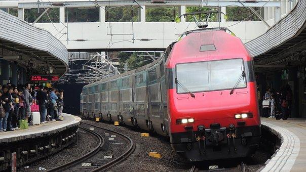 Hongkong, Train, City, Transportation, Asian, People
