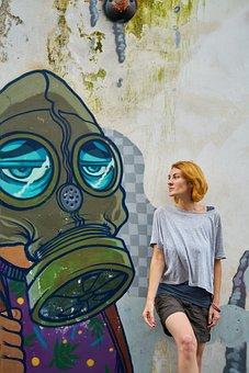 Woman, Travel, Graffiti, Pretty Girl, Human, Portrait