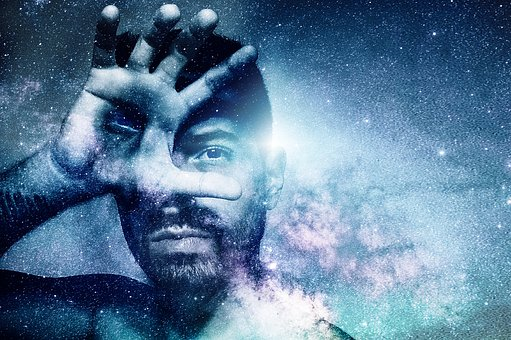 Universe, Magic, Man, Photomontage, Sky, Eyes