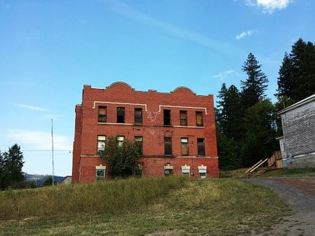 Old School, Abandoned School, Brick Building, Americana