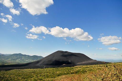 Volcano, Landscape, View, Black, Ash, Lava, Clouds, Sky