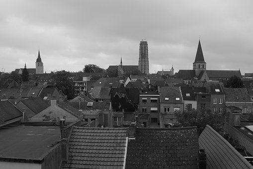 City, Mechelen, Buildings, Architecture, Towers, Roofs