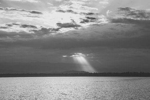 Water, Sea, Ocean, Lake, Clouds, Cloudy, Ray, Light