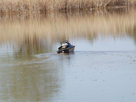 Boat, Remote, Fishing, Groundbait, Antenna, River, Corn