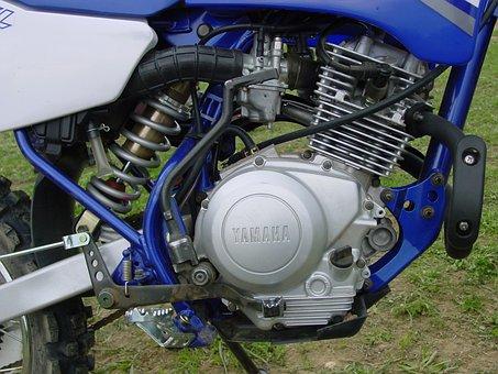 Yamaha, Engine, Block, Motorcycle, Enduro, Blue, Silver