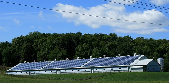 Solar Power, Sun, Barn, Power, Energy, Electricity
