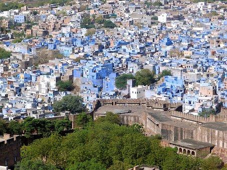 Iodine-pur, India, Homes, Blue, Radjastan